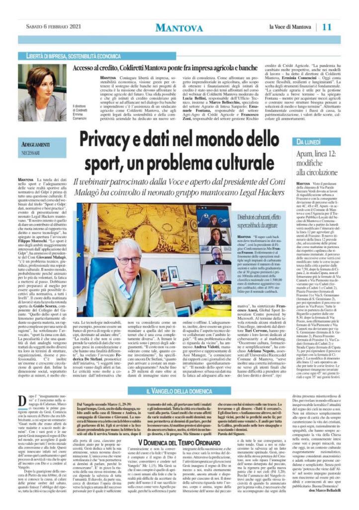 La Voce di Mantova 6 febbraio 2021